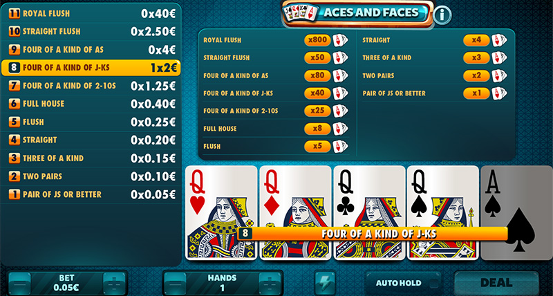 The Video Poker format with the most prizes, with a single pair you will already have a prize