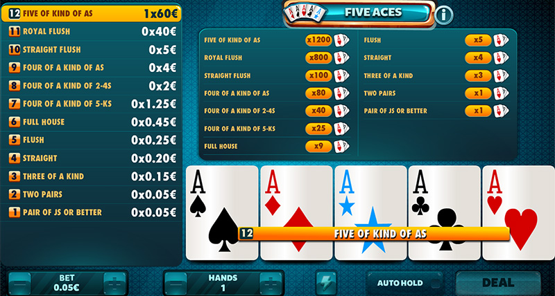 Five aces in order to facilitate your combinations